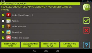 Tablette Gulli - Restriction applications